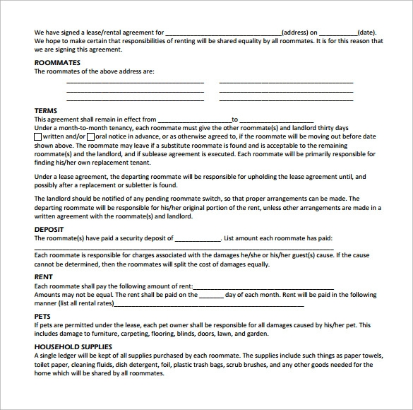 Free Roommate Agreement Templates Forms Word Pdf Printable