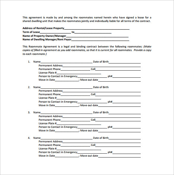 roommate agreement for rental