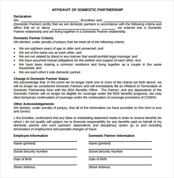 13 domestic partnership agreements to download sample templates affidavit of domestic partnership agreement wajeb Image collections