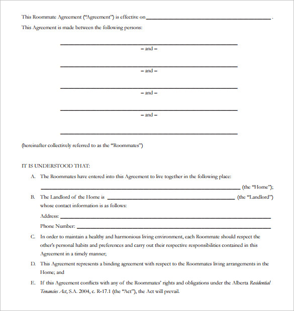 15 roommate rental agreement templates to download for Roommate agreement template free