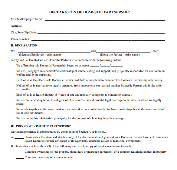 agreement of domestic partnership