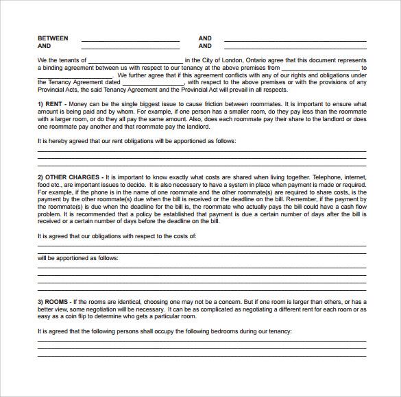 roomate agreement free