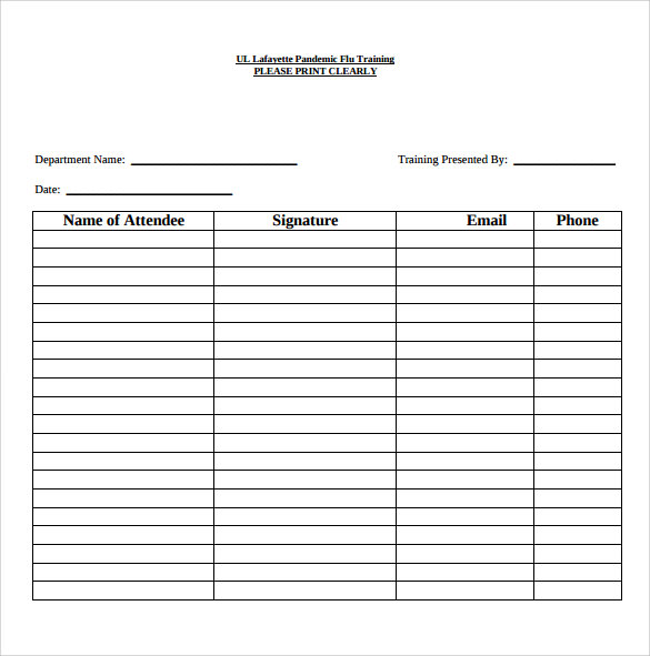 Sign In Roster Template Seminar SignIn Sheet Template  Excel