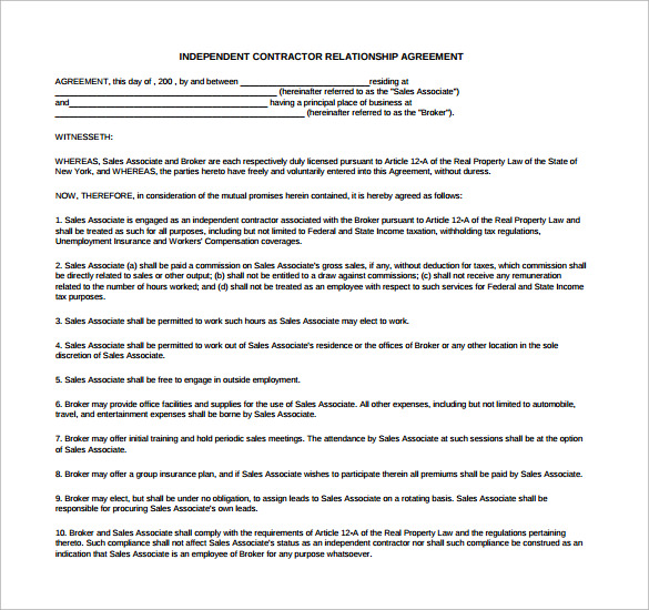 independent contractor relationship agreement