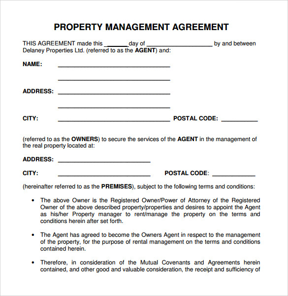 Contract Management Agreement Business Management Contract