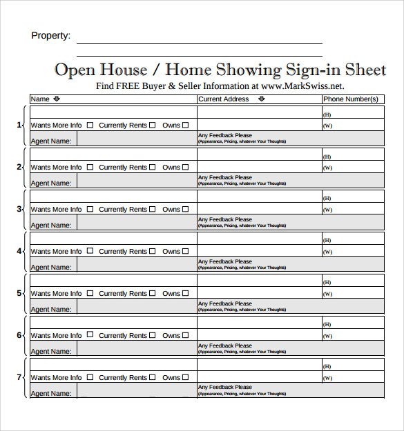 Sample Open House Sign in Sheet 10 Documents in PDF – Free Sign in Sheet