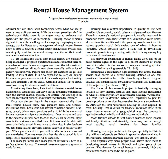 Sample Rental Management Template   Free Documents In Pdf