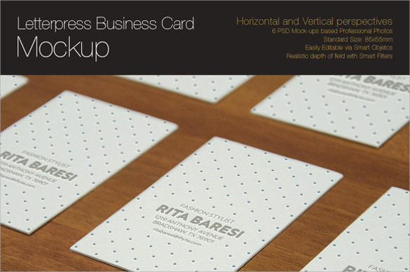 psd letterpress business card