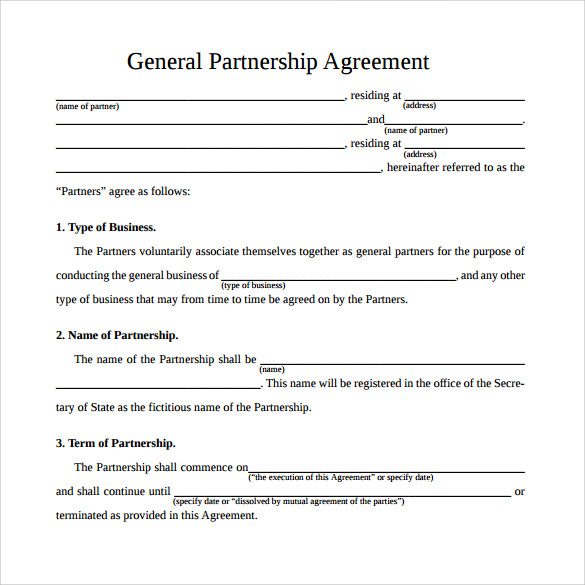 12 sample general partnership agreement templates sample templates. Black Bedroom Furniture Sets. Home Design Ideas