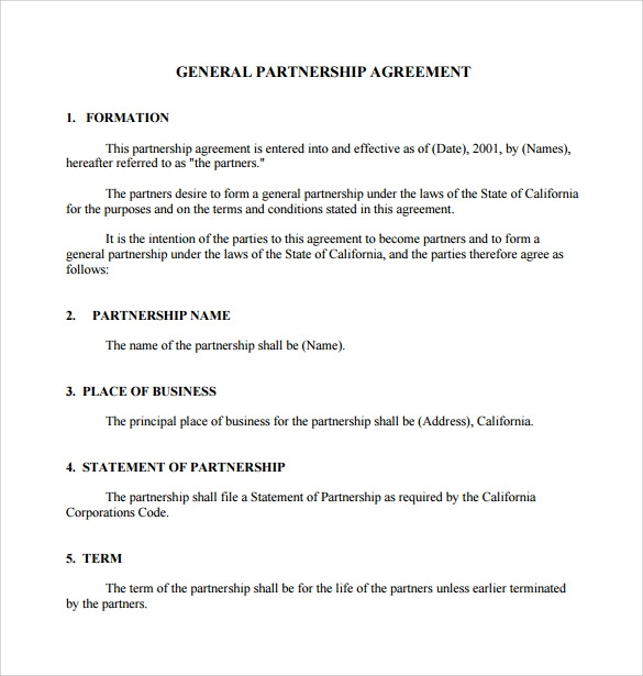 Sample General Partnership Agreement   Documents In Pdf Word