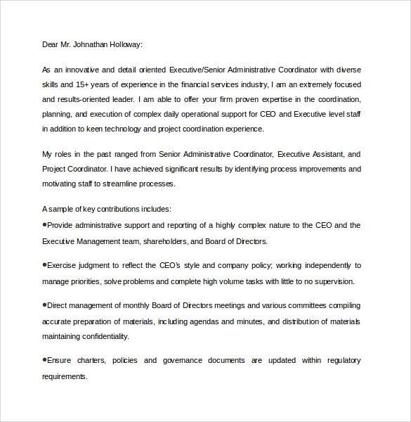 Sample Executive Assistant Cover Letter - 9+ Download Free Documents ...