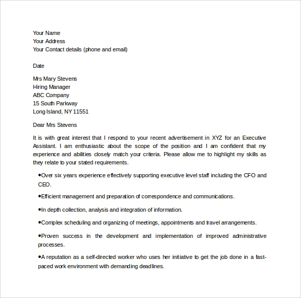 Sample Executive Assistant Cover Letter - 9+ Download Free