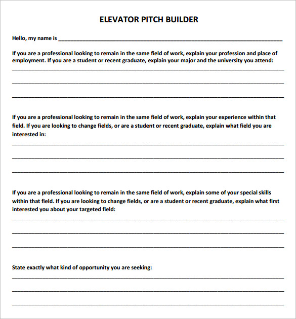 sample elevator pitch template