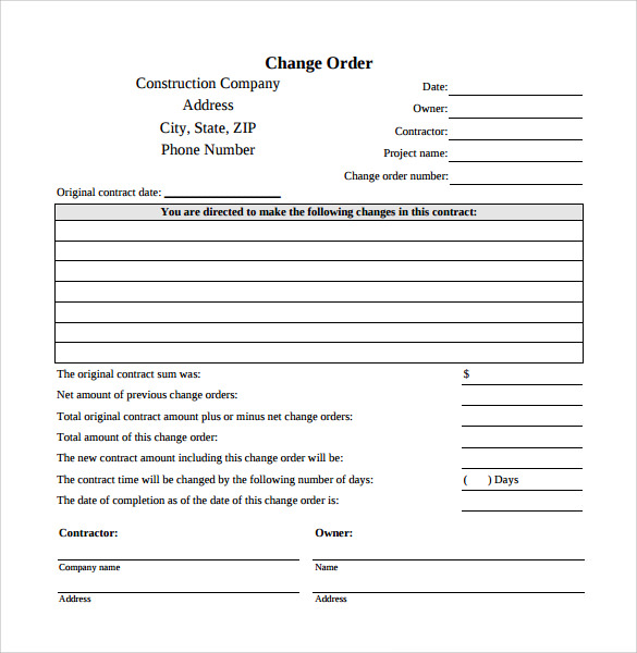 Sample Change Order Template   Free Documents In   Word