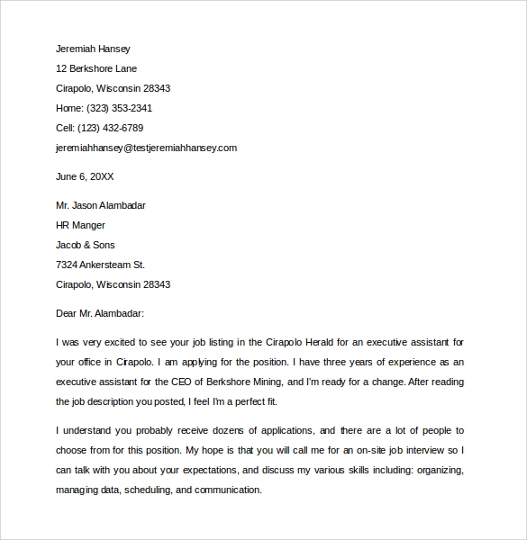 sample executive assistant cover letter 9 download free documents