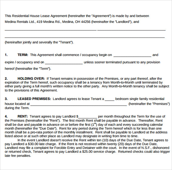 Sample Home Lease Agreement   Free Documents In Pdf Word