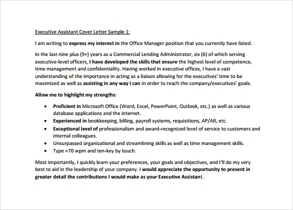 executive assistant cover letter to download