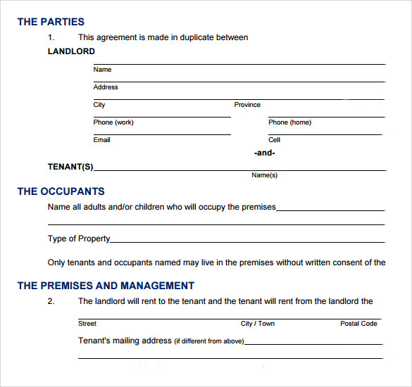 home lease agreement standard