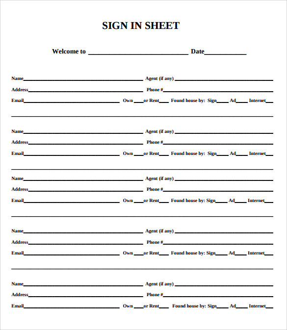 samples of sign in sheets