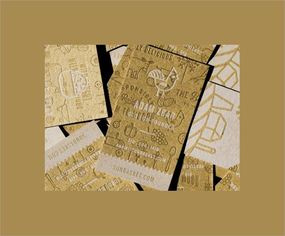 2 coloured letterpress business card