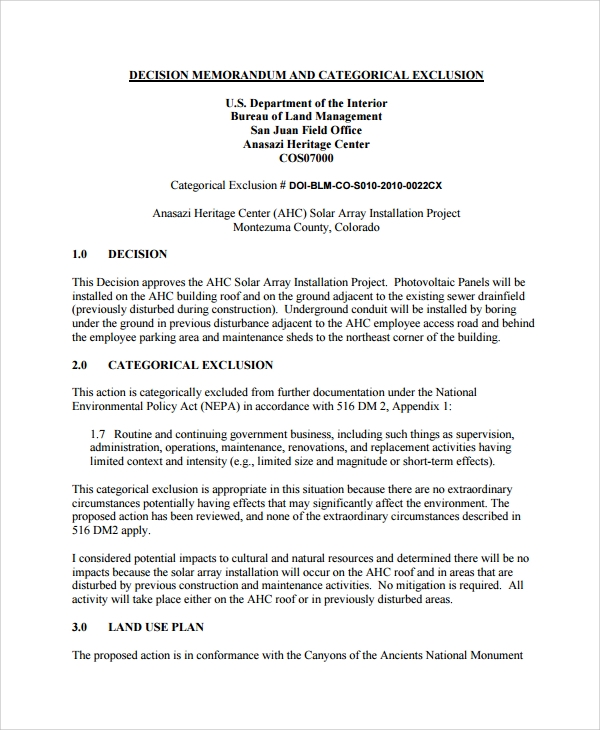 categorical exclusion and decision memo