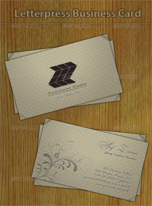 psd format letterpress business card