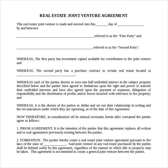 Sample Real Estate Partnership Agreement 9 Free Documents in – Real Estate Contract Template