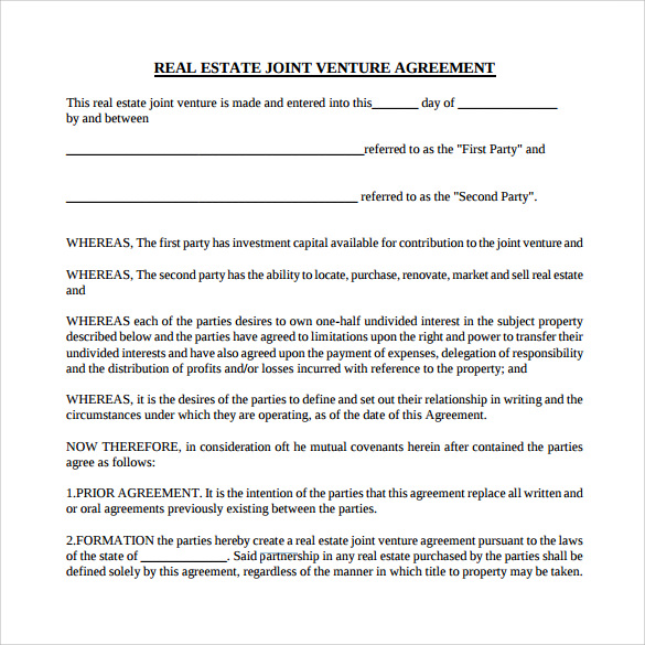 Sample Real Estate Partnership Agreement 9 Free Documents in – Free Joint Venture Agreement Template