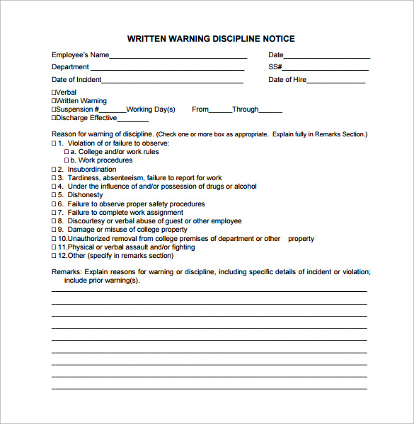 written notice letter template - 11 written warning templates pdf sample templates