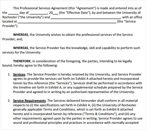 Sample Professional Services Agreement   Free In Pdf Word