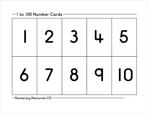 10 number samples sample templates for Template for numbers 1 100