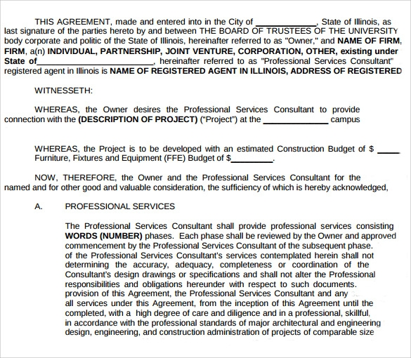 Professional Services Agreement Template | Sample Professional Services Agreement 11 Free In Pdf Word