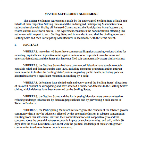 Sample Master Settlement Agreement - 10 + Free Documents In Pdf