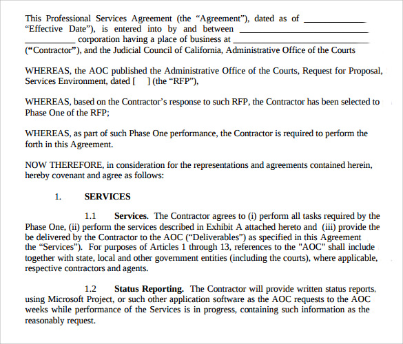 sample professional services agreement