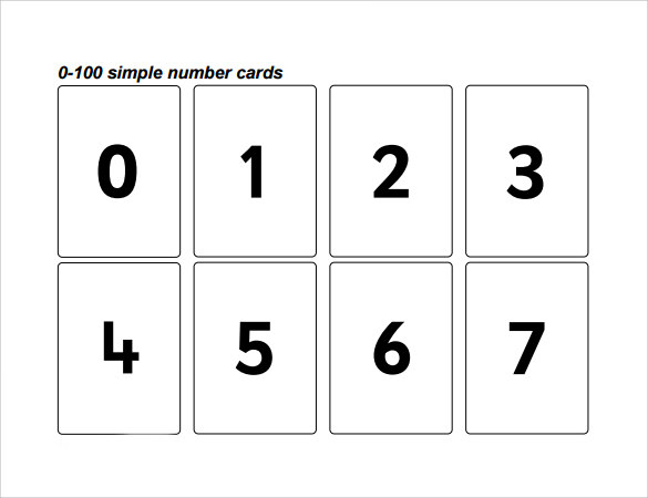 simple number cards