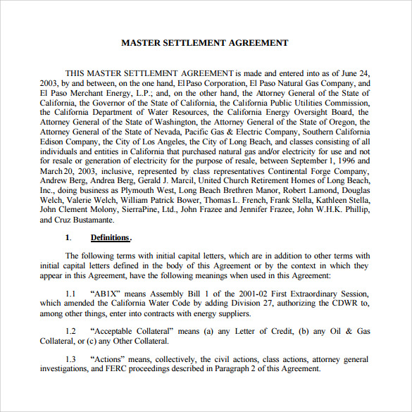 Sample Master Settlement Agreement    Free Documents In Pdf