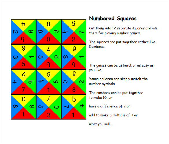 numbered squares templates
