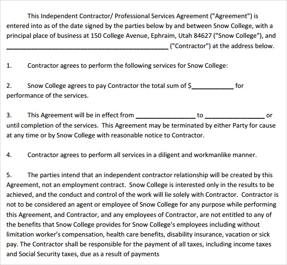 professional services agreement download