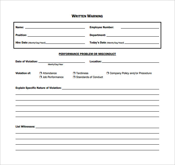 Sample Written Warning Template - 10+ Free Documents In Pdf