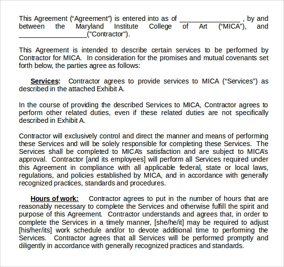 download professional service agreement