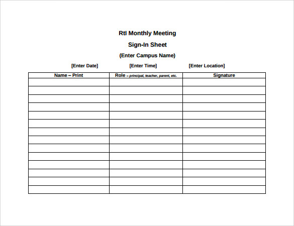 monthly meeting sign in sheet