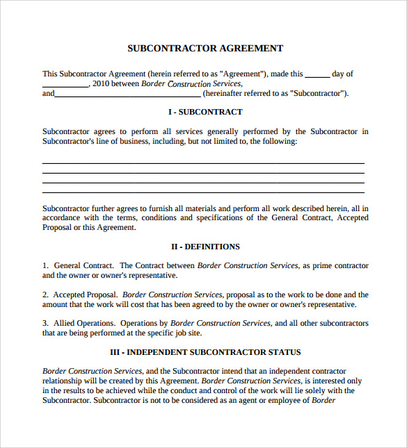 standard subcontract agreement template - 15 sample subcontractor agreements sample templates