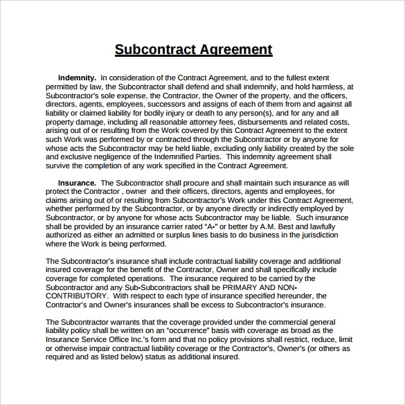 Sample Subcontractor Agreement  KakTakTk