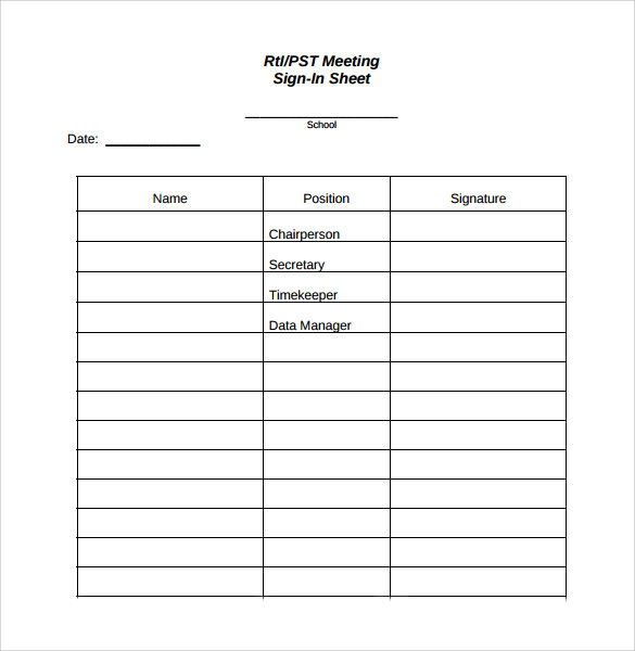 rti pst meeting sign in sheet