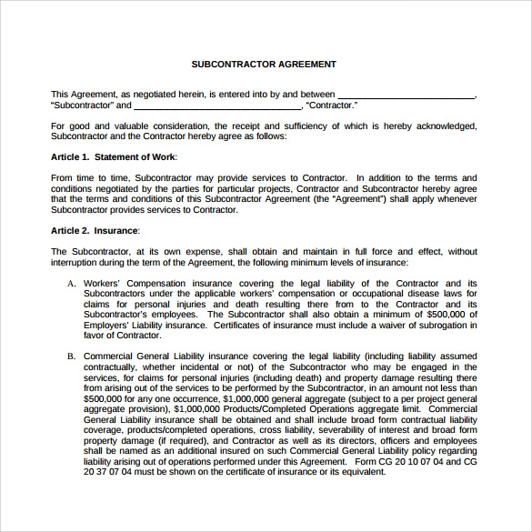 subcontractor agreement 11 free word pdf documents.html