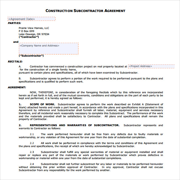 15 Sample Subcontractor Agreements Sample Templates