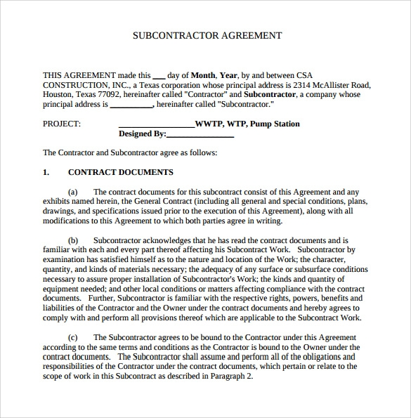 Sample Subcontractor Agreement - 14+ Documents In Pdf, Word