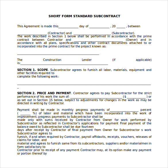 Sample Subcontractor Agreement   Documents In Pdf Word