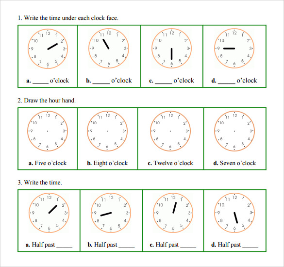 standard clock face template