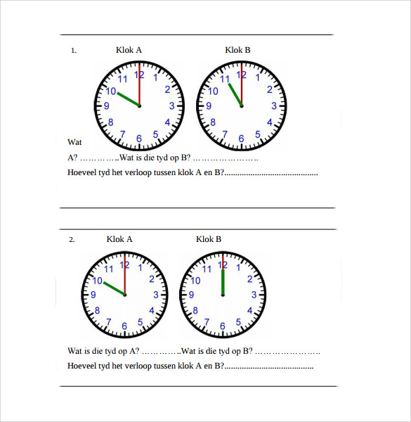 clock face template pdf